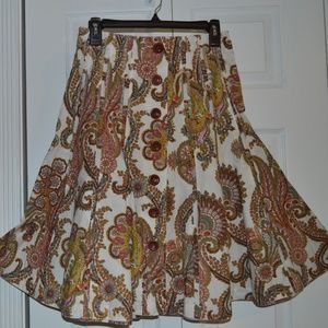 CAbi 4 A-line Brown/Gold Paisley Cotton Skirt